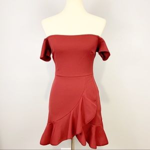 Nasty Gal Off Shoulder Tulip Hem Red Mini Dress